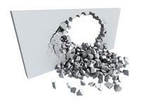 Muro di cemento di sbriciolatura con il foro Fotografia Stock