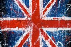 Muro di cemento dipinto con i graffiti della bandiera di Britannici Fotografie Stock Libere da Diritti