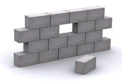 muro di cemento incompleto 3d Fotografia Stock Libera da Diritti