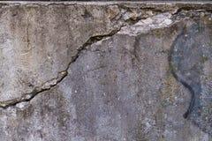 Muro di cemento incrinato Fotografie Stock Libere da Diritti