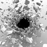 Muro di cemento incrinato con il foro di pallottola BAC astratto di distruzione Immagine Stock Libera da Diritti