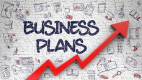 Muro di mattoni bianco attinto business plan Fotografia Stock