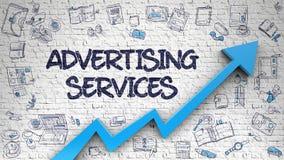 Muro di mattoni bianco attinto di servizi di pubblicità Fotografie Stock Libere da Diritti