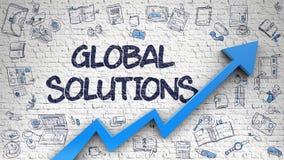 Muro di mattoni bianco attinto soluzioni globali Immagine Stock Libera da Diritti