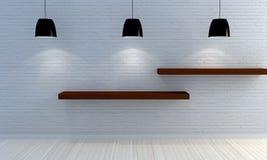 Muro di mattoni bianco con gli scaffali di legno Fotografia Stock