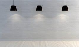 Muro di mattoni bianco con gli scaffali di legno Fotografie Stock