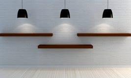 Muro di mattoni bianco con gli scaffali di legno immagini stock libere da diritti