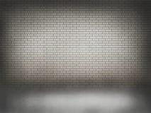 Muro di mattoni bianco con il pavimento bianco Fotografia Stock Libera da Diritti