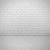 Muro di mattoni bianco con il pavimento di calcestruzzo Interiore vuoto della stanza Immagine Stock Libera da Diritti