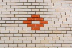Muro di mattoni bianco con un modello, una struttura o un fondo rossa Fotografia Stock Libera da Diritti