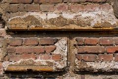 Muro di mattoni bruno-rossastro con gesso Fotografia Stock Libera da Diritti