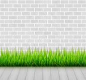 Muro di mattoni con erba verde ed il fondo di legno di vettore del pavimento illustrazione vettoriale