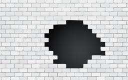 Muro di mattoni con il buco nero illustrazione di stock
