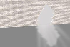 Muro di mattoni con il foro Fotografia Stock Libera da Diritti