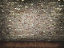 Muro di mattoni con il pavimento di legno Fotografie Stock Libere da Diritti