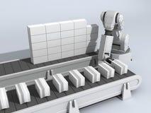 Muro di mattoni con il robot Illustrazione Vettoriale