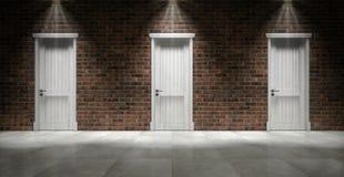 Muro di mattoni con tre porte chiuse Fotografia Stock Libera da Diritti