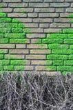 Muro di mattoni coperto di moos Immagini Stock Libere da Diritti
