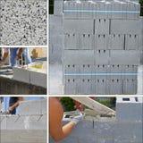 Muro di mattoni del calcestruzzo del collage Fotografia Stock