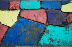 Muro di mattoni dell'arcobaleno Fotografia Stock Libera da Diritti