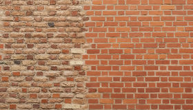 Muro di mattoni differente del reticolo due insieme Fotografia Stock