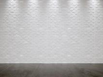 Muro di mattoni e Gray Concrete Floor bianchi Fotografie Stock