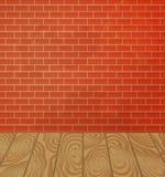 Muro di mattoni ed interno di legno del pavimento Immagini Stock Libere da Diritti
