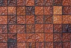 Muro di mattoni floreale dell'argilla del modello Fotografie Stock Libere da Diritti
