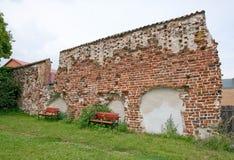 Muro di mattoni medievale Immagini Stock