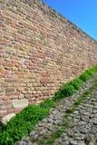Muro di mattoni medievale Kalemegdan, Belgrado con la pietra per lastricati fotografia stock libera da diritti