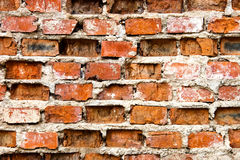 Muro di mattoni molto vecchio e nocivo Fotografie Stock Libere da Diritti