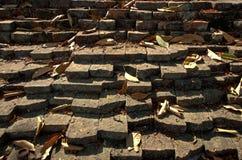 Muro di mattoni rosso antico di Lan Na Kingdom Fotografia Stock