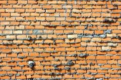 Muro di mattoni rosso, arancio Fotografia Stock