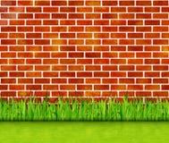 Muro di mattoni rosso con il fondo di vettore dell'erba verde royalty illustrazione gratis