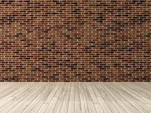 Muro di mattoni rosso con la rappresentazione di legno del pavimento Fotografia Stock Libera da Diritti