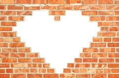 Muro di mattoni rosso con lo spazio a forma di della copia del cuore Fotografie Stock Libere da Diritti