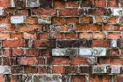Muro di mattoni rosso molto vecchio Fotografia Stock Libera da Diritti
