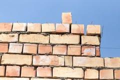 Muro di mattoni su un cantiere come fondo Fotografia Stock Libera da Diritti