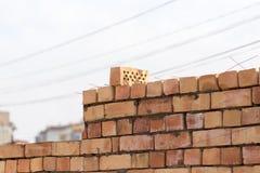 Muro di mattoni su un cantiere come fondo Immagine Stock
