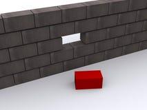 Muro di mattoni, un missing Fotografia Stock