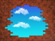 Muro di mattoni un rotto al cielo Fotografie Stock