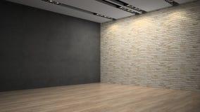 Muro di mattoni vuoto del whith della stanza Fotografie Stock