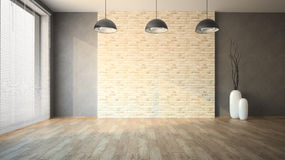 Muro di mattoni vuoto del whith della stanza Fotografie Stock Libere da Diritti
