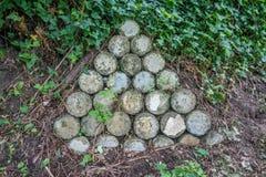 Muro di sostegno del cilindro del triangolo Immagini Stock