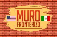 Muro Fronterizo, granica Ścienny hiszpański tekst, pojęcie wektoru ilustracja Fotografia Royalty Free