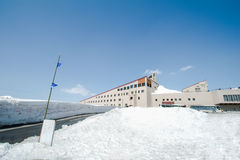 Murodo Bus Terminal is a trolleybus station in Tateyama Kurobe. Alpine Route on the snow mountains wall , Beautiful landscape on Tateyama Japanese Alps with Stock Photography