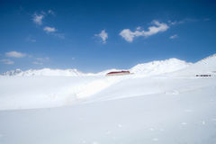 Murodo Bus Terminal is a trolleybus station in Tateyama Kurobe. Alpine Route on the snow mountains wall , Beautiful landscape on Tateyama Japanese Alps with Royalty Free Stock Image