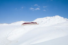 Murodo Bus Terminal is a trolleybus station in Tateyama Kurobe. Alpine Route on the snow mountains wall , Beautiful landscape on Tateyama Japanese Alps with Royalty Free Stock Images