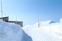 Murodo Bus Terminal is a trolleybus station in Tateyama Kurobe. Alpine Route on the snow mountains wall , Beautiful landscape on Tateyama Japanese Alps with Royalty Free Stock Photo