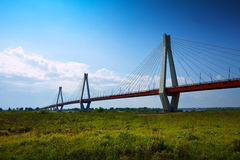 Murom bridge through Oka River Stock Photo